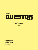 The Questor Tapes Script